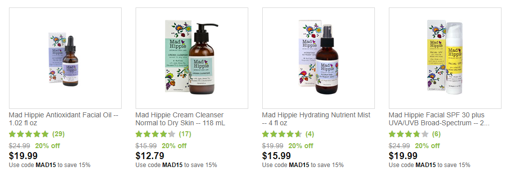Mad Hippie on Vitacost summer sale 15% off