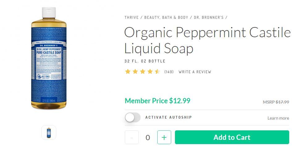 Thrive market Organic Peppermint Castile Liquid Soap